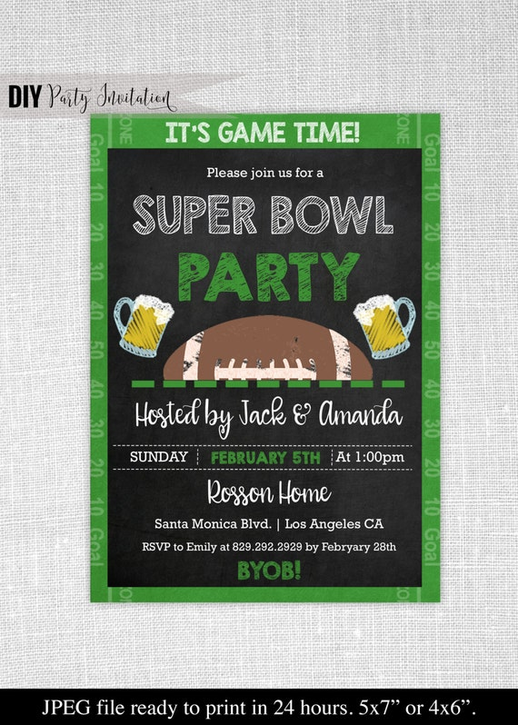 It is an image of Modest Super Bowl Party Invitations Free Printable