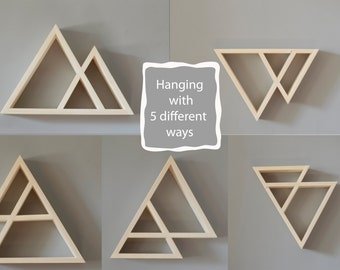 Wooden Triangle Shelves, Geometric Shelves, Mountain Shape Shelf, Wooden Shelf