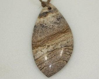 Gemstone Focal Pendant, Jasper, 65x33 mm