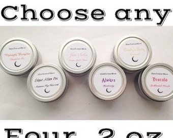 Choose Any Four 2 oz candles // Book Candles // 2 ounce Candle Tins