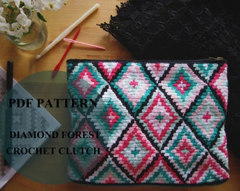 Diamond Forest Crochet Clutch Pattern / Tapestry Crochet Pattern / Modern Crochet Bag Pattern / Geometric crochet pattern /Wayuu style bag