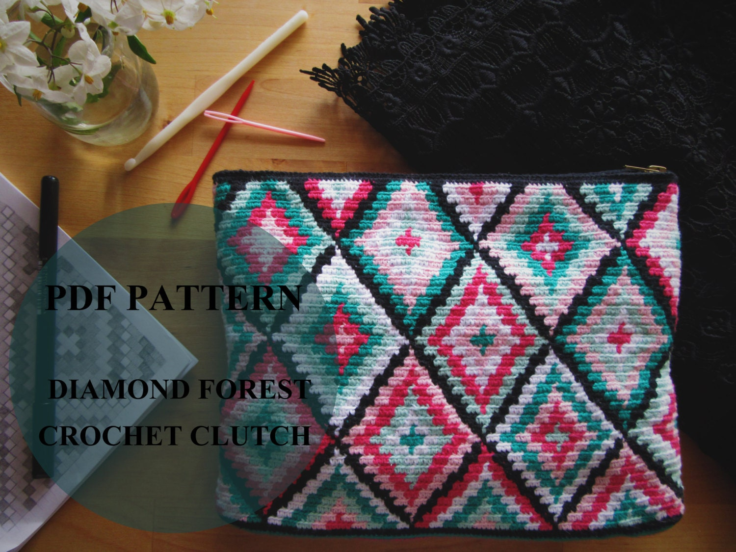 Diamond forest crochet clutch pattern tapestry crochet pattern this is a digital file bankloansurffo Gallery