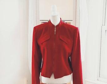Vintage Giorgio Sant'Angelo 100% Wool Ladies Zippered Red Jacket
