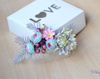 Wedding flower hair comb Exotic floral head piece Blue purple hair piece summer wedding fern hair comb floral bridal woodland comb back