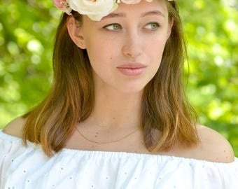 Wedding flower crown peach pink rose hair bridal crown White floral head wreath roses halo wedding flowers Provence headband Bridal wreath