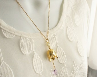 Tulip Necklace, Gold Tulip Necklace, Bridesmaids Gift, Floral Necklace, Romantic Gift, Gift for her, Valentines Gift, Wedding Jewelry