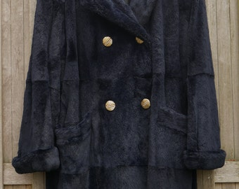 FREE SHIPPING: Deep Blue Faux Fur Coat / Double Breasted Luxurious Womens Coat- Vintage