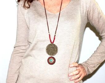 Boho long necklace with pendant, Ethinic long statement necklace, Boho long necklace pendant, boho long statement necklace, hindu necklace