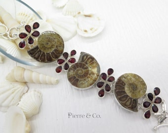 Ammontie Fossil and Garnet Sterling Silver Bracelet