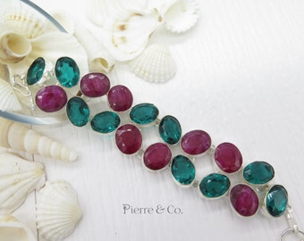 Raw Cut Ruby and Emerald Quartz Sterling Silver Bracelet