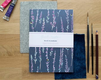 Grey Heather Set of 2 A5 Notebooks | Lined Pages | Recycled Paper | Designed in Yorkshire | Made in the UK