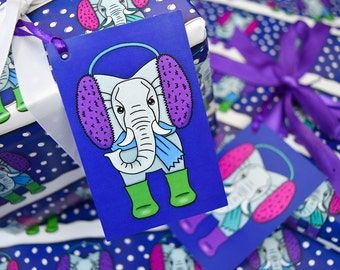 Christmas Gift Tags Christmas Elephant Gift Tags-Xmas Gift Tag Set-Holiday Gift Tag Pack-Cute Christmas Tags-Animal Christmas-Kids Party Tag