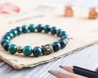 8mm - Greenish chrysocolla beaded stretchy bracelet with bronze Buddha bead, mens bracelet, womens bracelet, green bead bracelet