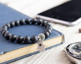 8mm - Matte black onyx beaded stretchy bracelet with silver micro pave Hamsa hand charm & ball, made to order bracelet, bead bracelet