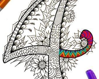 """Number 4 Zentangle - Inspired by the font """"Harrington"""""""