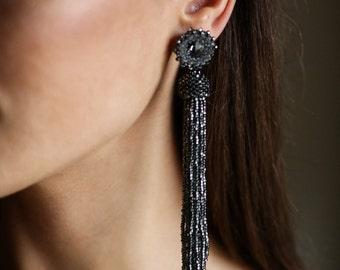 Black Diamond tassel earrings. Long beaded tassel earrings. Beaded statement earrings. Fringe earrings. Swarovski stud earrings.