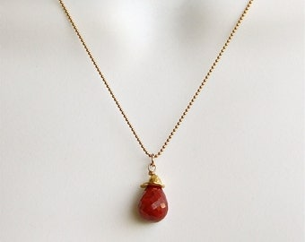 Ruby necklace , Gift for her, July birthstone, Ruby necklace, Ruby drop necklace,