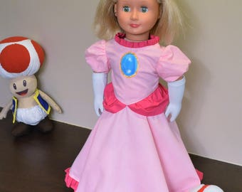 Fits American Girl 18 inch Doll- like Princess Peach Dress, Gloves, and Petticoat