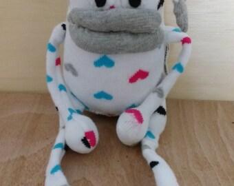 Sock oddity * sock monster * sock monkey * cute * spotty * art doll  * doll * hearts