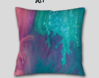 Blue coral throw pillow, Turquoise purple teal, Toss pillow cover case, Master bedroom decor, Blue Abstract art, Home decor