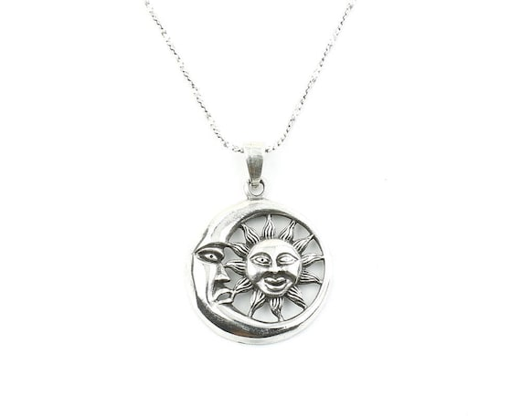 Sterling Silver Sun And Moon Necklace, Cosmic, Wiccan, Yoga Jewelry, Meditation, Spiritual, Boho, Gypsy, Festival, Hippie