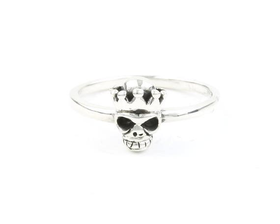 Sterling Silver Skull King Ring, Skull With Crown, Skeleton Ring, Biker, Motorcycle, Boho, Gypsy, Wiccan, Festival Jewelry