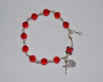 Bracelet, Red Extendable One Decade Rosary Bracelet