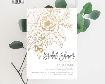 Gold Floral and Pink Bridal Shower Invitation , Printable Floral Bridal Shower Invitation , Bridal Shower Thank You Card