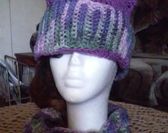 Purple Fusion hat and scarf