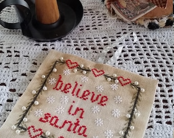 Pattern, Christmas Santa Cross stitch Pattern,  Christmas pattern, Believe in Santa, Primitive Stitching