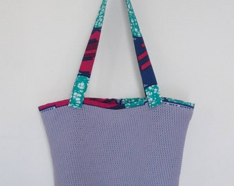 Mesh tote bag lilac and wax