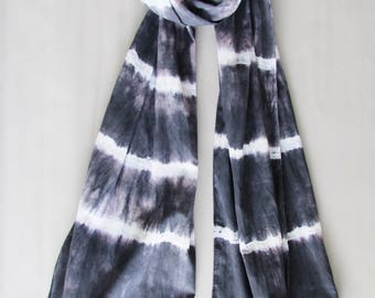 Black and white Tie dyed scarf Hippy fashion Cotton scarf Stripe scarf Boho fashion scarf Gift for Mom Gift for her Vintage scarf INDI 0195