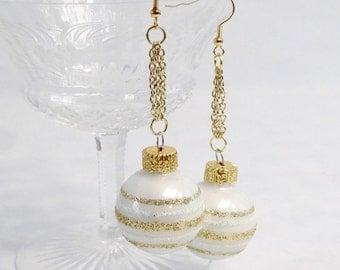 white ornament earrings, striped earrings, white gold glitter earrings, holiday earrings,  festive earrings , New Years party jewelry