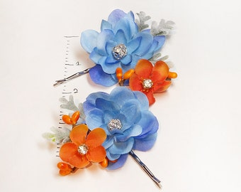 blue hair pins, flower hair pin, blue hair flower, light blue wedding accessories, orange hair pins, prom headpiece, floral hair pins
