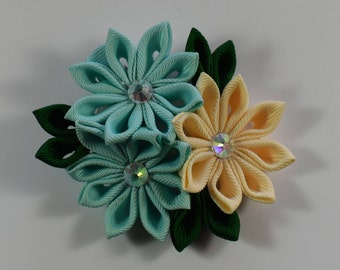 Kanzashi style hairclip. Turquise/Beige hair accessory, hair clip, for wedding, for girls, women, for any occasion, on sale hair jewelry