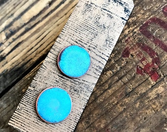 Copper Turquoise Patina Post Earrings - hammered circle stud artistic disc patina jewelry