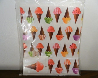 1989 Ice Cream Cone Gift Wrap 2 Sheets And 2 Gift Cards In Original Packagaing