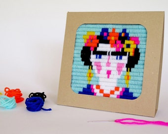 Frida, Mexico embroidery kit for girls and moms - embroidery kit for beginne, DIY kids kit - birthday gift craft  kit