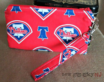 Philladelphia Phillies Wristlet -  Fightin' Phils Wallet - Zippered Pouch - Clutch - Gift - Quick Shipping - OOAK - Custom Made