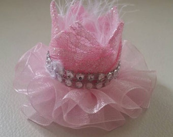Infant Crown, Crown Headband Infant, Crown Hat, Crown Hair Clip, Crown Headpiece, Pink Lace with or without hairband