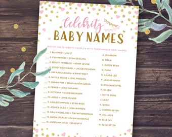 Celebrity Baby Name Game, Pink and Gold Baby Shower Games Printable, Baby Girl Shower, glitter, DIY Baby Shower Activities, Instant Download