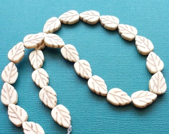 "Spacer Beads Leaf White 15"" Strand - B5066"