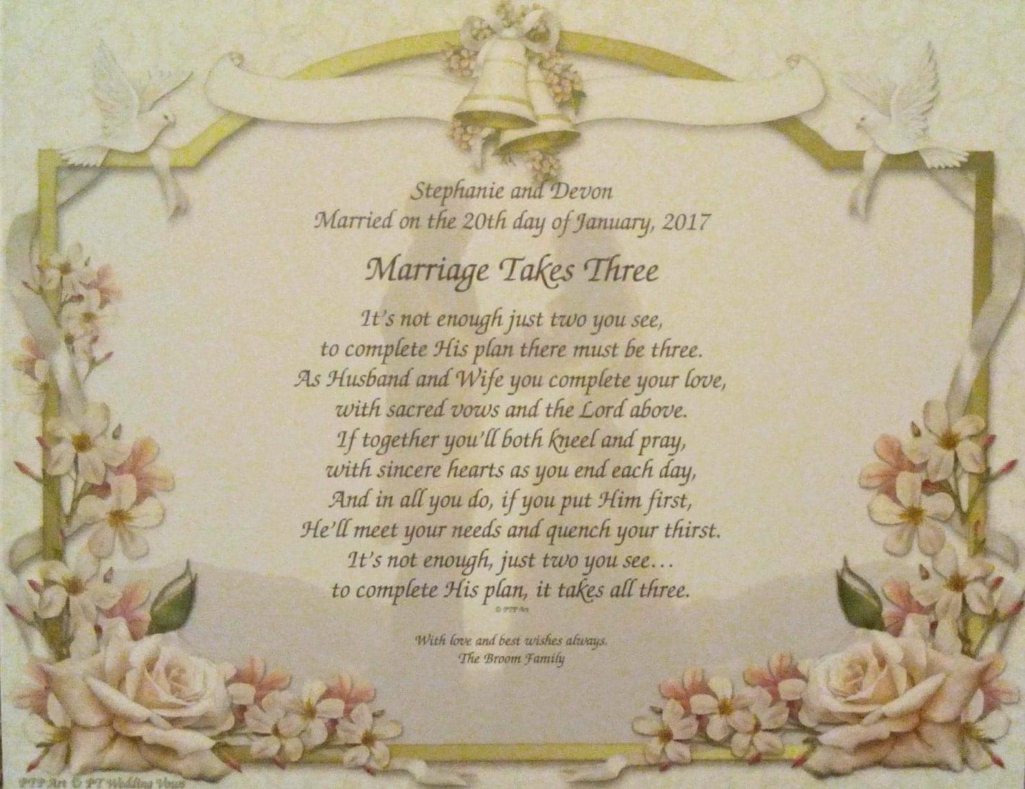 Wedding Vow Art Print Personalized Marriage Takes Three