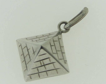 Antique  Hand-Carved Pyramid Pendant- Sterling Silver