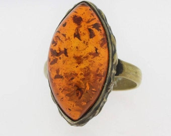 Vintage Cabochon Amber Ring- Sterling Silver
