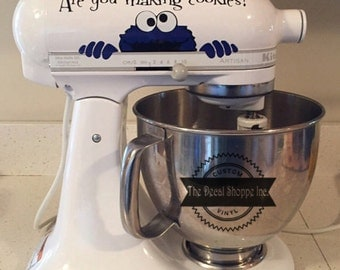 Cookie Monster Decal, Kitchen Aid Decal, Mixer Decal, Kitchen Decor, Mothers Day Gift, StandUp Mixer Decal, Kitchen Mixer Decal, Decal
