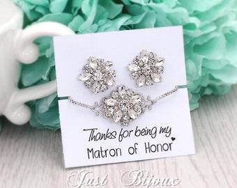 Wedding Bracelet Wedding Earrings set Rhinestones Earrings Bridal Bracelet Wedding Jewelry Bridesmaid bracelet Bridal Jewelry Daisy
