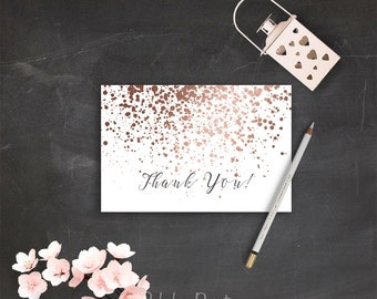 Printable Thank You Cards Rose Gold Thank You Card Instant Download Rose Gold Wedding Printable Cards DIY Wedding Calligraphy Thank You PDF