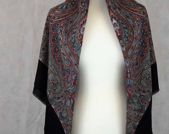 Vintage Middle Eastern Patterned Scarf, Vintage Scarf, Vintage Scarves, Scarf, Scarves, Vintage Clothing, Clothing, Women's Clothing