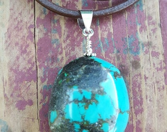 Genuine Large Chunky Oval Turquoise Gemstone and Sterling Silver Pendant, Large Chunky Turquoise Pendant, Large Turquoise Drop, Turquoise